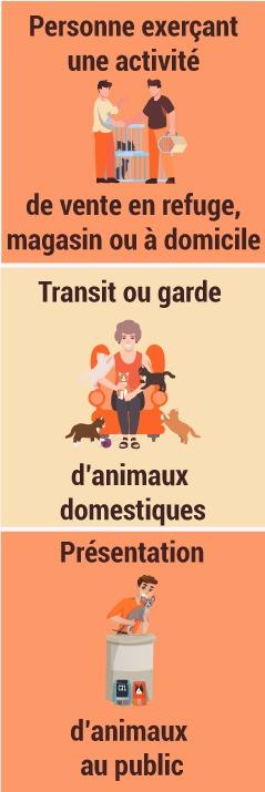 Personne exerçant une activité de vente en refuge, magasin ou à domicile Transit ou garde d'animaux domestiques Présentation d'animaux au public